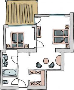 Grundriss Suite Grubigstein